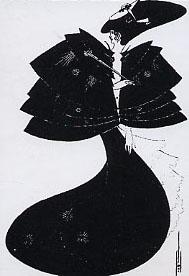 Aubrey Beardsslay - Figura femminile in abito nero