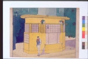 Studio di un chiosco con figura maschile - Antonio Sant'Elia
